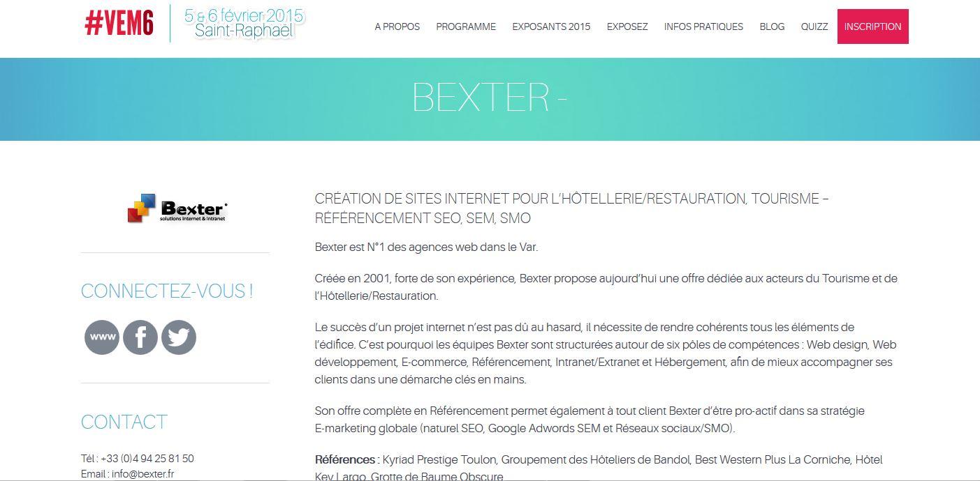bexter cr ateur de site internet participe au salon e tourisme 2015 vem6. Black Bedroom Furniture Sets. Home Design Ideas